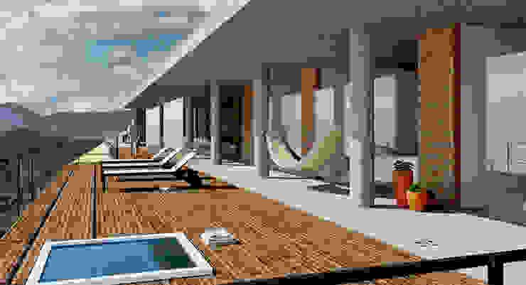 Alvorada Arquitetos Modern style balcony, porch & terrace