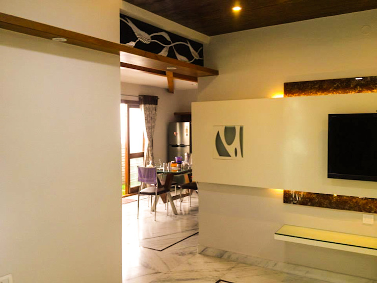 Urban Shaastra Modern corridor, hallway & stairs