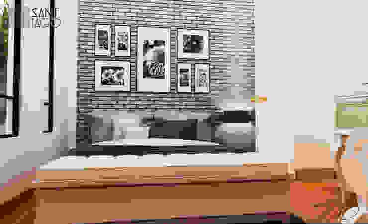 Cuarto de Visitas Dormitorios minimalistas de SANT1AGO arquitectura y diseño Minimalista Ladrillos
