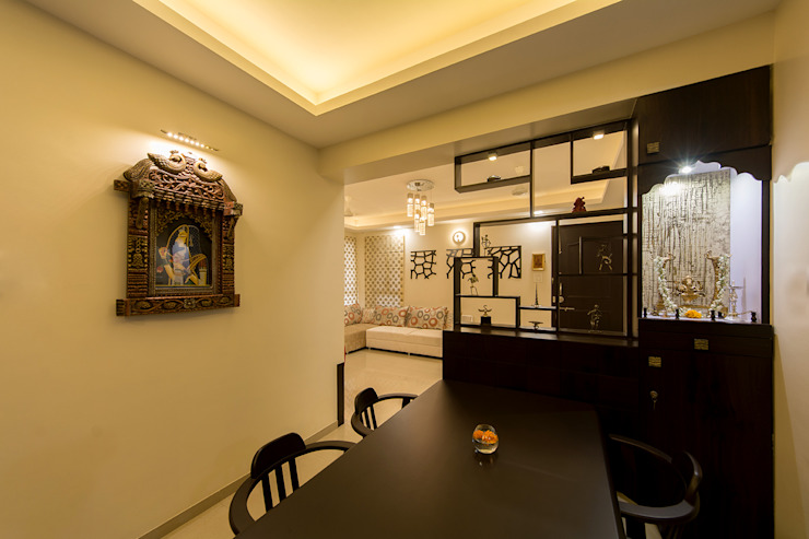 Display Unit along with Puja nook Navmiti Designs Modern dining room
