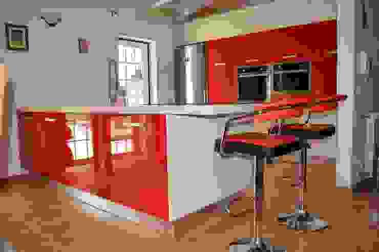 Ansidecor Cuisine moderne Bois d'ingénierie Rouge
