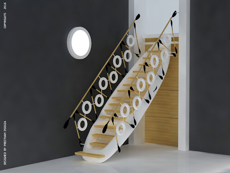 Kayak staircase white Modern Corridor, Hallway and Staircase by Preetham Interior Designer Modern Wood Wood effect