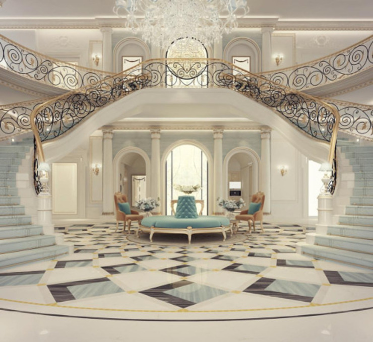 Exploring Luxurious Homes : Grand Lobby Interior Design Коридор, прихожая и лестница в классическом стиле от IONS DESIGN Классический Мрамор