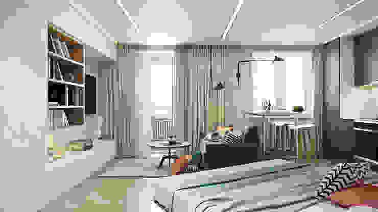 СВЕТЛАНА АГАПОВА ДИЗАЙН ИНТЕРЬЕРА Dormitorios de estilo escandinavo Gris