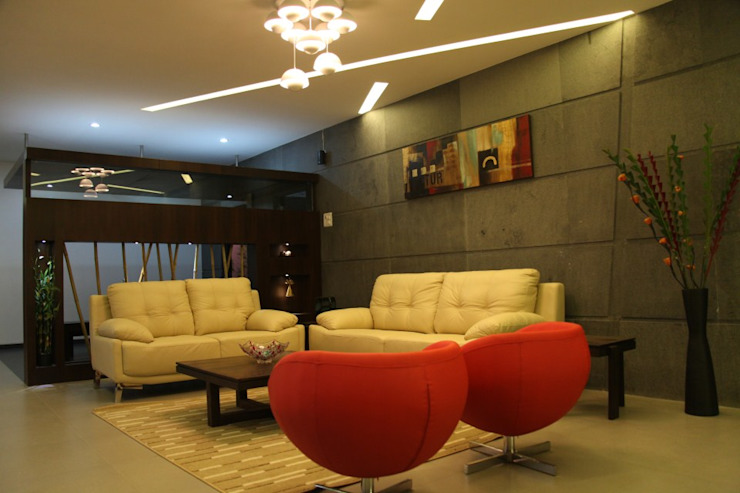 pent house for Mr. Jahagirdar At nanded 4th axis design studio Minimalist living room