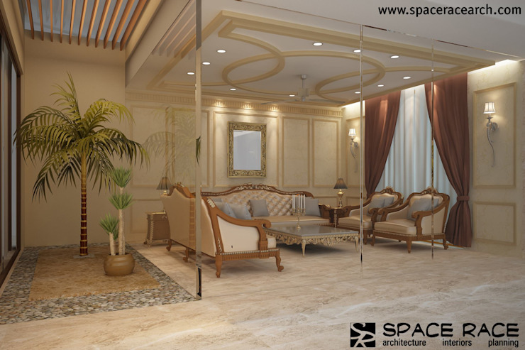 Residence at Lajpat Nagar Jalandhar (Bantu Sabhawal) Classic style living room by SPACE RACE ARCHITECTS Classic