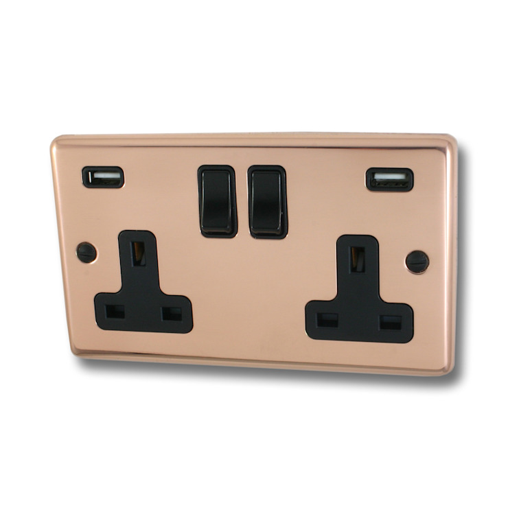 Bright copper USB socket Socket Store HaushaltAccessoires und Dekoration