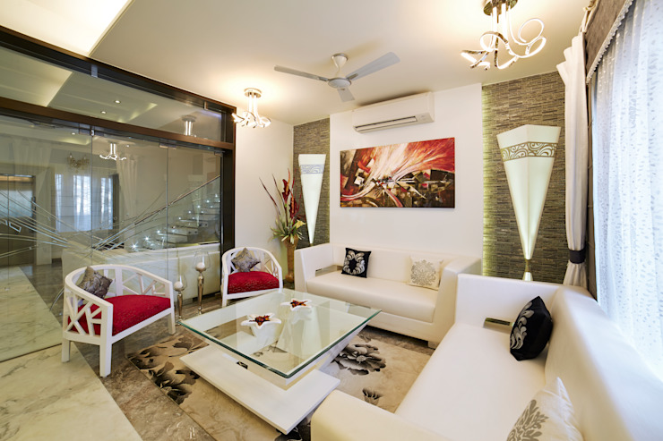 SADHWANI BUNGALOW Modern living room by Square 9 Designs Modern Marble