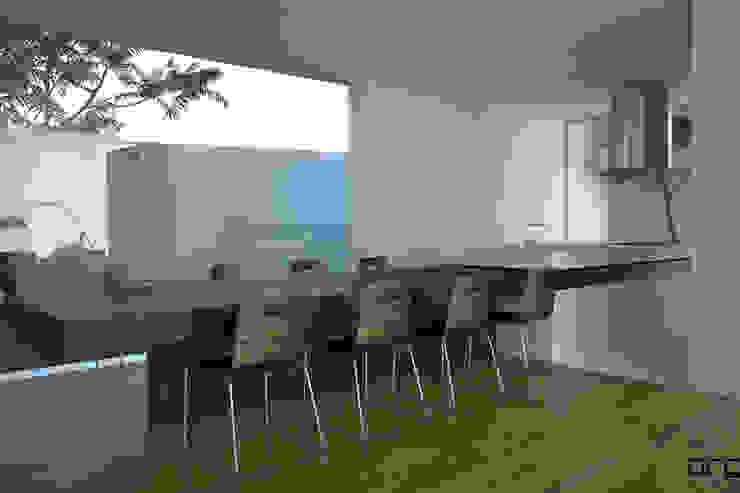 CASA BI-FAMILIAR AG_PÓVOA DE VARZIM_2011: Salas de jantar  por PFS-arquitectura