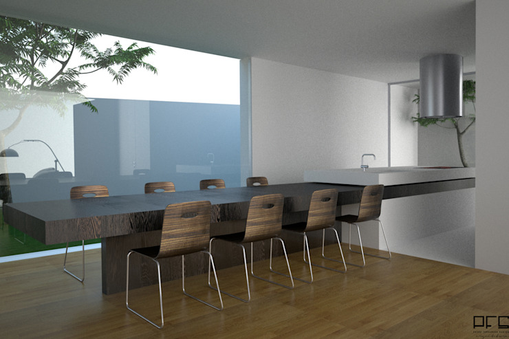 CASA BI-FAMILIAR AG_PÓVOA DE VARZIM_2011 Salas de jantar minimalistas por PFS-arquitectura Minimalista
