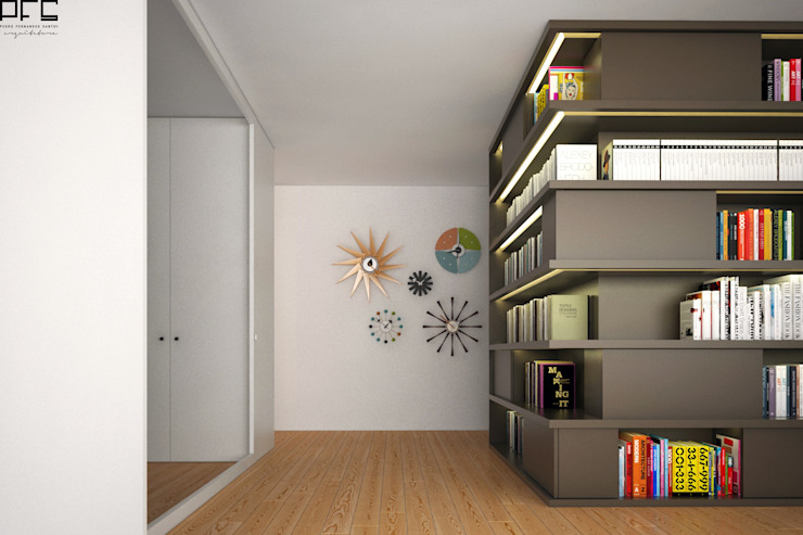 APARTAMENTO JC_PÓVOA DE VARZIM_2015 Corredores, halls e escadas minimalistas por PFS-arquitectura Minimalista