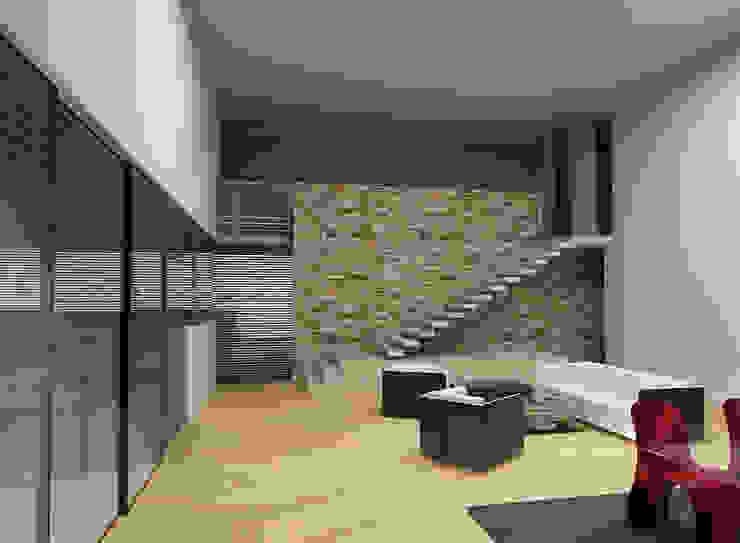 CARCO Arquitectura y Construccion Moderne Wohnzimmer Holz Beige
