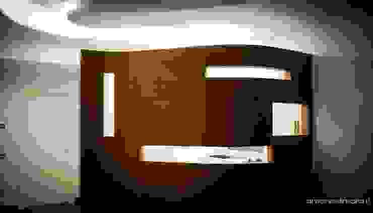 Living-Cucina Ingresso, Corridoio & Scale in stile minimalista di antoniodimaro + Partners Minimalista