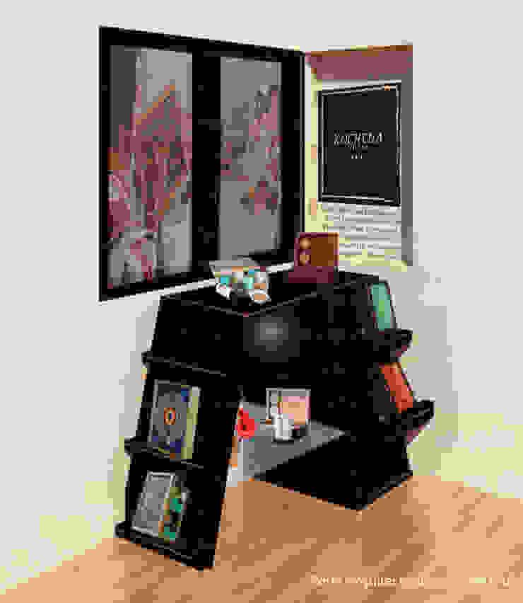 Vista / Render Mueble exhibidor Kocheua de Perfil Arquitectónico Minimalista Madera Acabado en madera