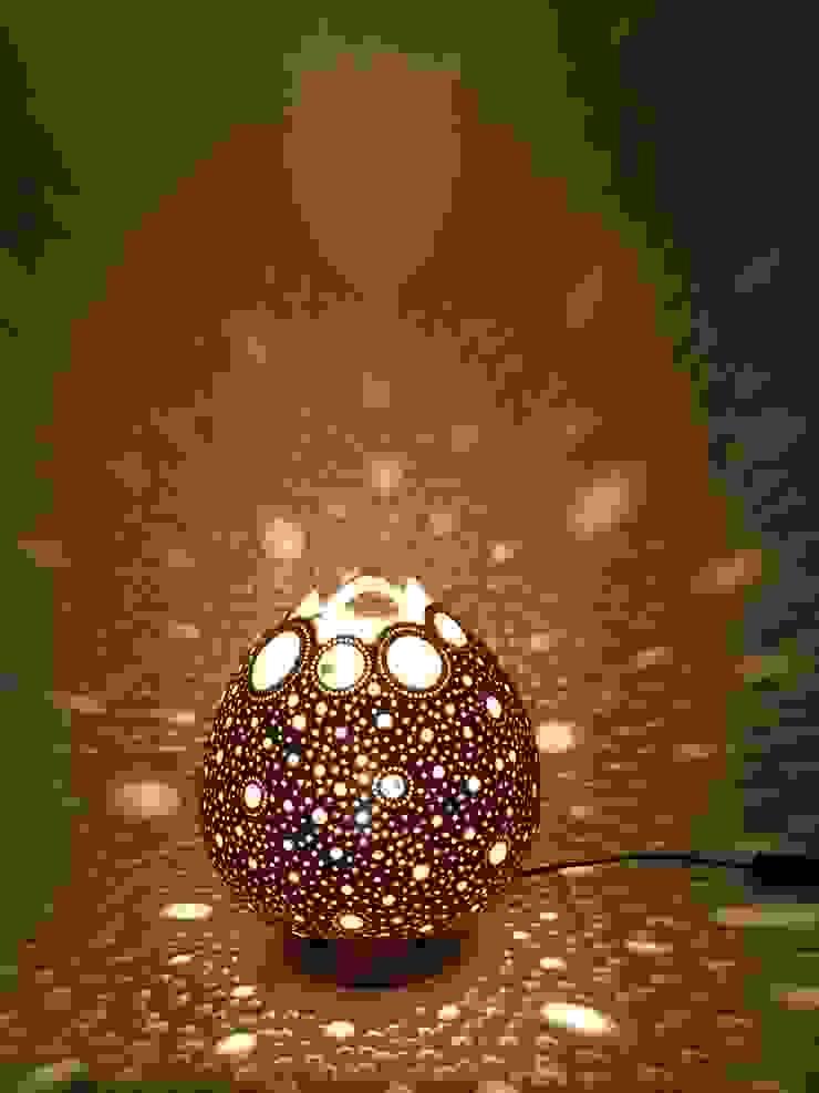 "Kürbislampe ""Circles"" Nussbauam Lasur Atelier Pumpkin-Art WohnzimmerBeleuchtung Braun"