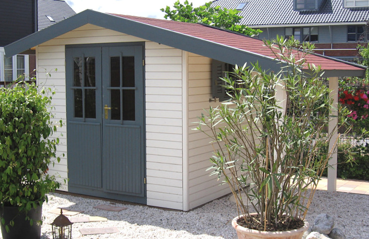 Pioneer 2 - Garden Shed with Canopy/Log Store Garden Affairs Ltd Garasi Modern Kayu White