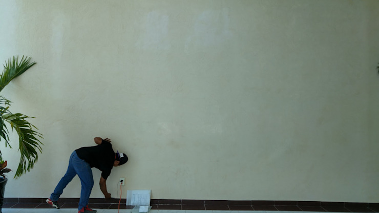 Muro para colocación de RecreARQ Construcciones Minimalista Vidrio