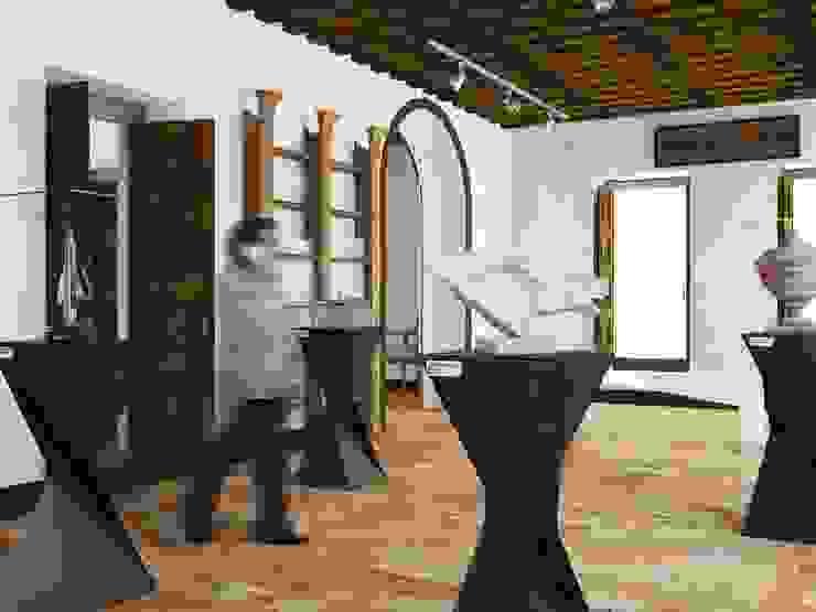 Vista perspectiva con escalas de sala de exhibicion de MRamos