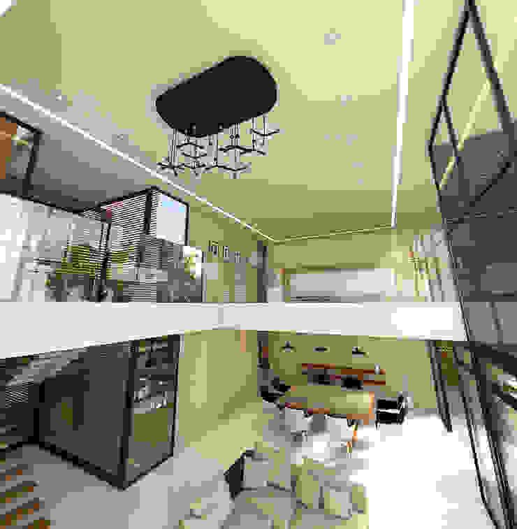 Vista del mesanine - tapanco Salones minimalistas de RecreARQ Construcciones Minimalista