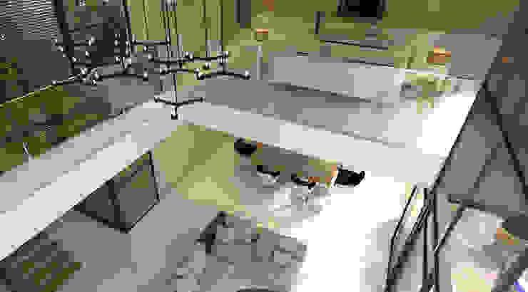 Vista de la sala de tv y sala a doble altura, balcon. Salones minimalistas de RecreARQ Construcciones Minimalista