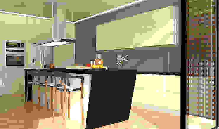 Cocina de cuarzo y MDF laminado Cocinas minimalistas de RecreARQ Construcciones Minimalista Cuarzo