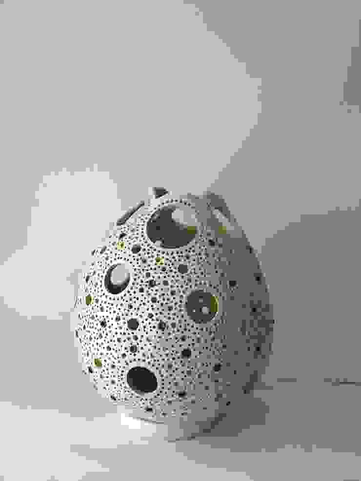 """Kürbislampe """"Circles"""" Seidenweiss lackiert Atelier Pumpkin-Art WohnzimmerBeleuchtung"""