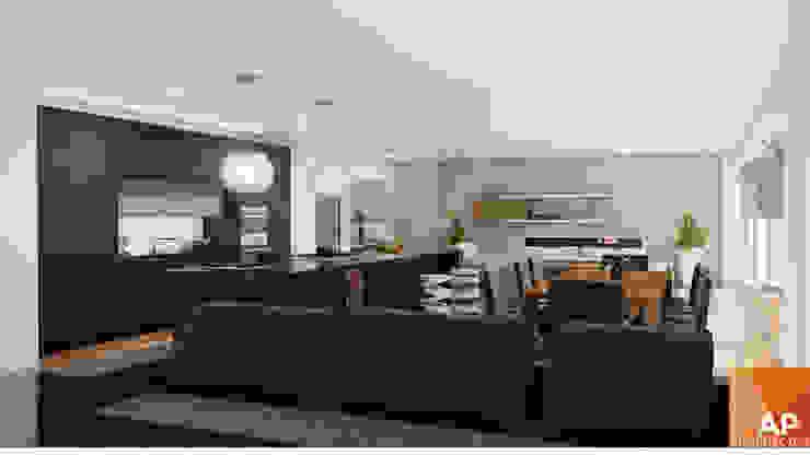 Comedor, cocina, sala de AParquitectos Moderno