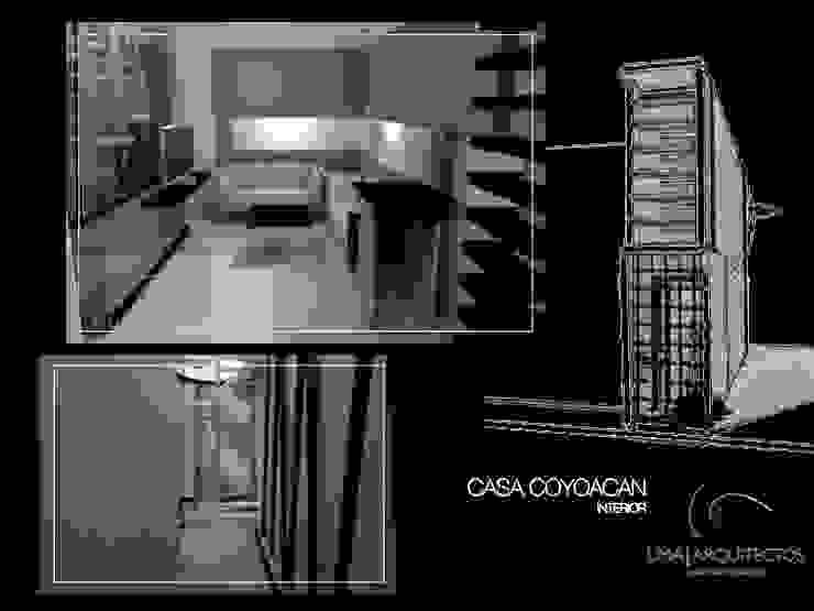 CASA COYOACAN Salones minimalistas de Lima Arquitectos Minimalista Cerámico