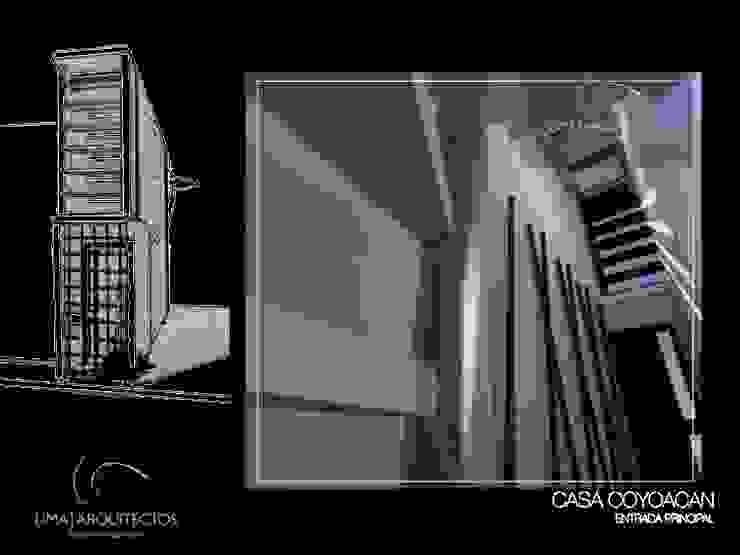 CASA COYOACAN Pasillos, vestíbulos y escaleras minimalistas de Lima Arquitectos Minimalista Plata/Oro
