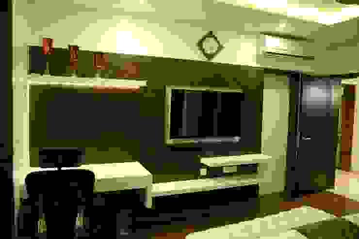Apartment interiors at Sattva Luxuria Modern style bedroom by Studio Stimulus Modern