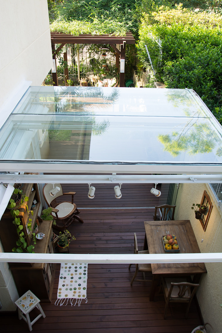 Área Externa de Lazer Varandas, alpendres e terraços rústicos por Expace - espaços e experiências Rústico Vidro