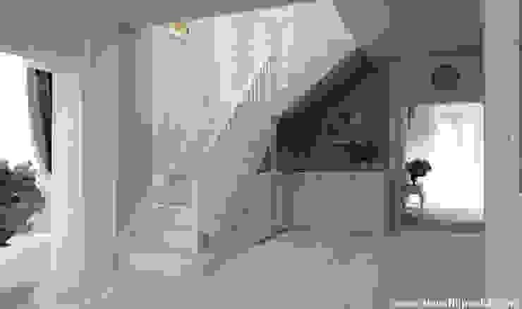 Интерьер дома, Оснице, Прага-восток Коридор, прихожая и лестница в скандинавском стиле от homify Скандинавский