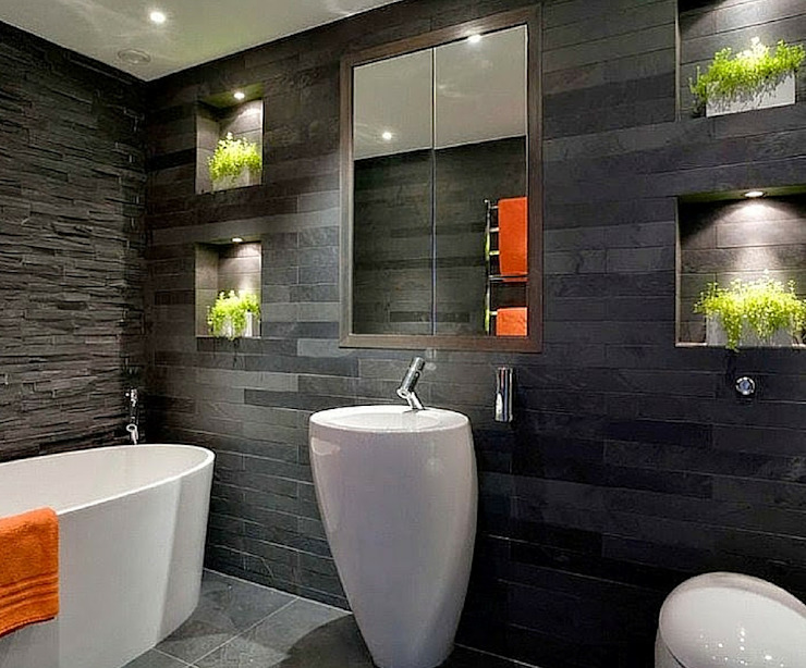 homify Modern bathroom Ceramic Black