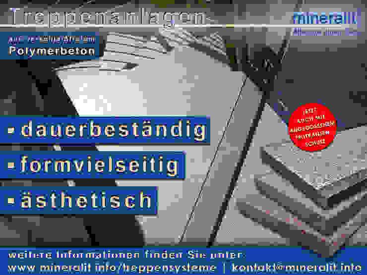 Treppenanlagen aus Polymerbeton: modern  von Mineralit - Mineralgusswerk Laage GmbH,Modern Granit