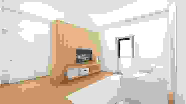 Interior - Apartamento tipo - Sala de estar: Salas de estar  por Arq. Duarte Carvalho,Moderno