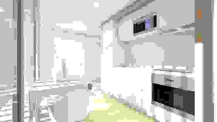 Interior - Apartamento tipo - Cozinha: Cozinhas  por Arq. Duarte Carvalho,Moderno
