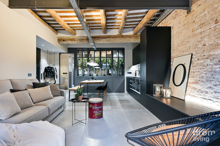 Ruang Keluarga Gaya Industrial Oleh Dröm Living Industrial