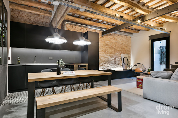 Industrial style dining room by Dröm Living Industrial