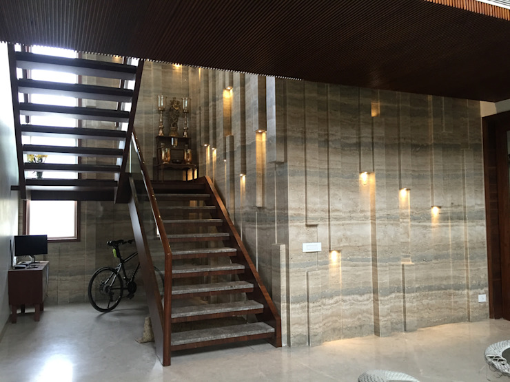Project of Rajguru Nagar Modern corridor, hallway & stairs by QBIX DESIGNS Modern Wood Wood effect