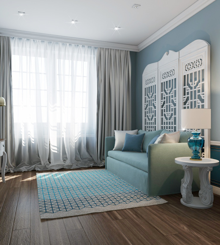 Частный дизайнер и декоратор Девятайкина Софья Mediterranean style bedroom Turquoise