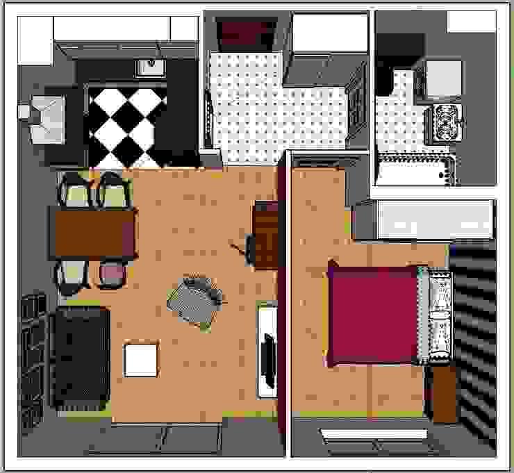 rzut z góry. Eklektyczne ściany i podłogi od nklim.design Eklektyczny