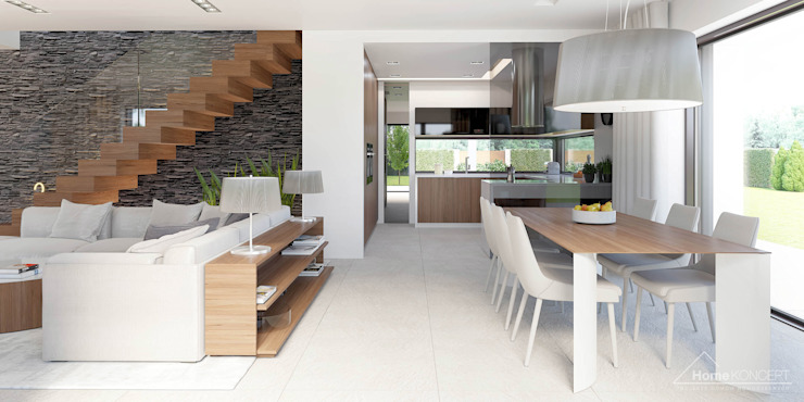 Comedores modernos de HomeKONCEPT | Projekty Domów Nowoczesnych Moderno