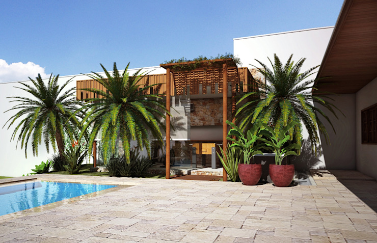 Pergolado Varandas, alpendres e terraços modernos por Lozí - Projeto e Obra Moderno