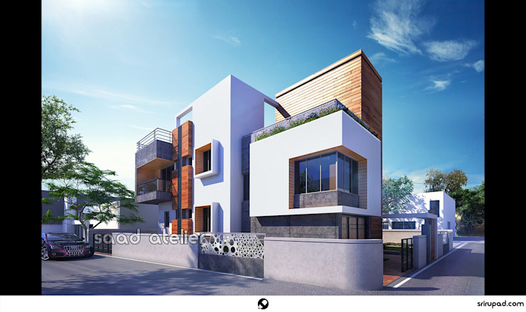 Residential Bungalow at Madhyamgram, WestBengal Country style houses by Saad Atelier Country Bricks
