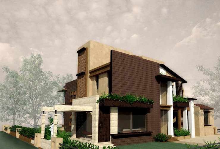 Exterior 3D View Eclectic style houses by Chaukor Studio Eclectic