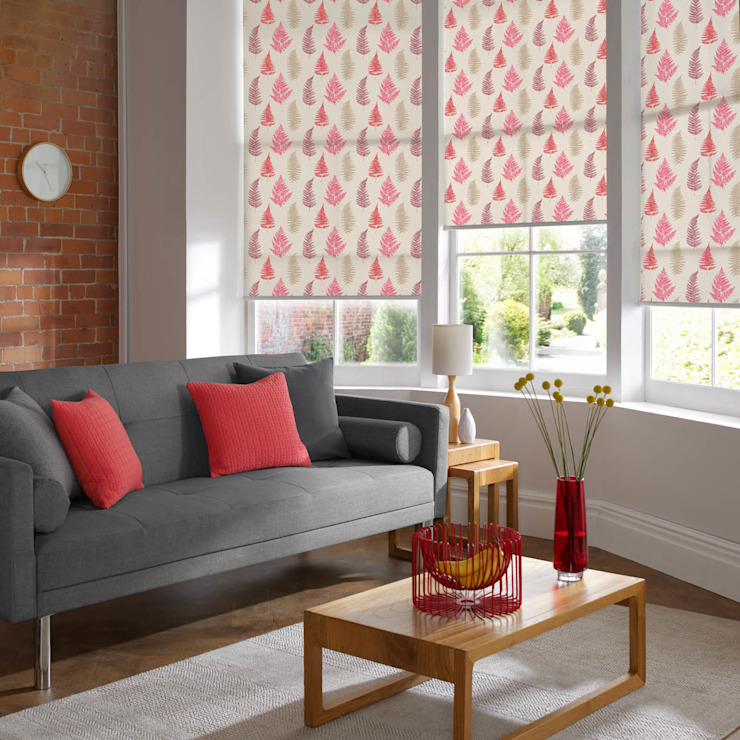 Fern Redcurrant Roller Blind Appeal Home Shading モダンデザインの リビング