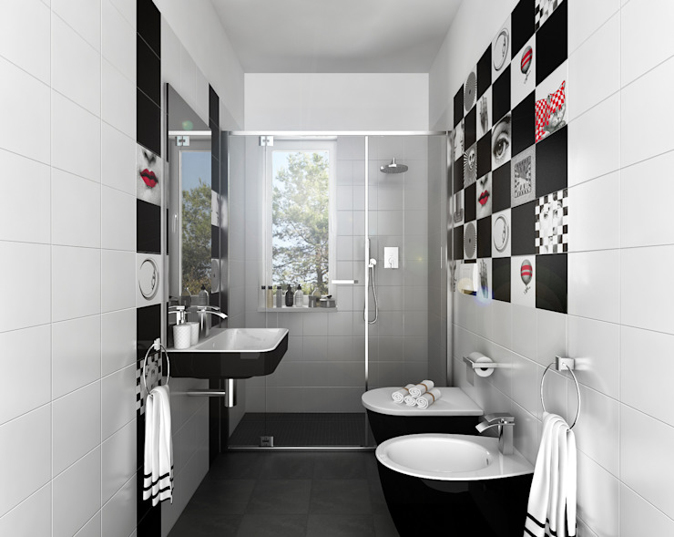 Architetto Luigia Pace Modern bathroom Ceramic Black
