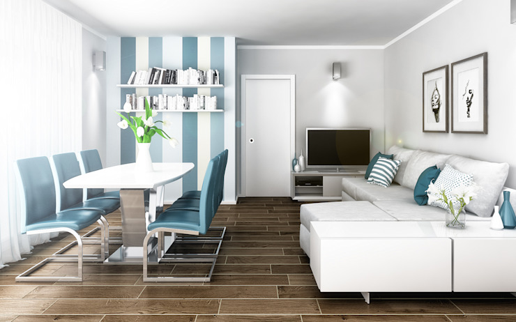 Architetto Luigia Pace Modern living room Wood Blue
