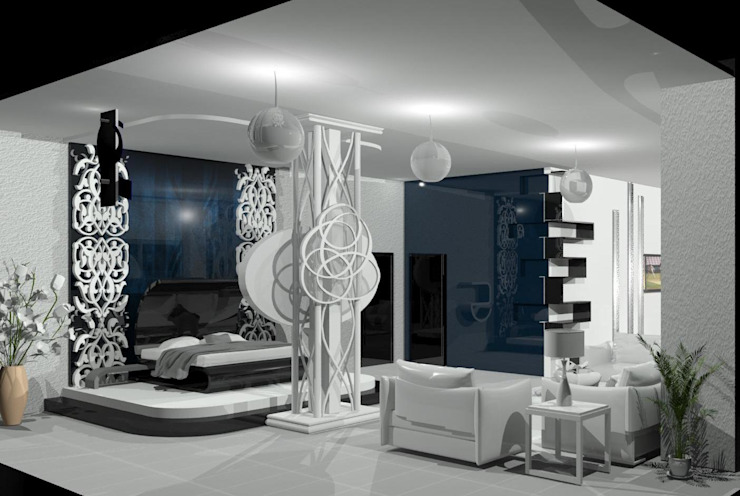Bedroom: eclectic  by EdgeHomes Architects,Eclectic Glass