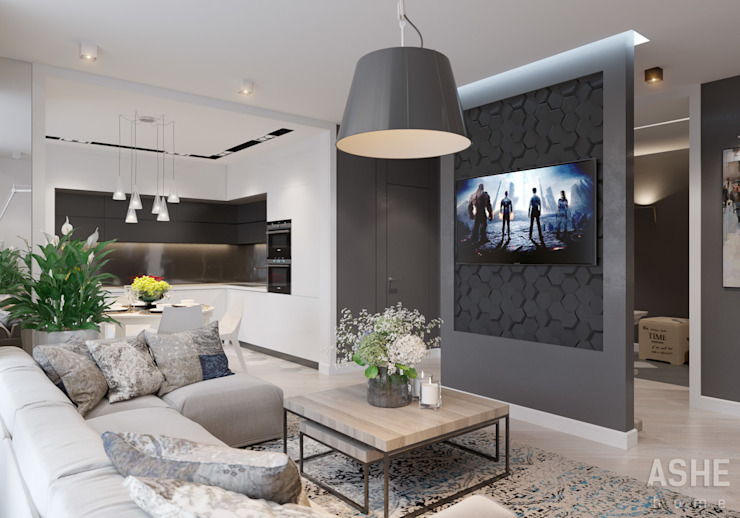 Ruang Keluarga Gaya Eklektik Oleh Студия авторского дизайна ASHE Home Eklektik